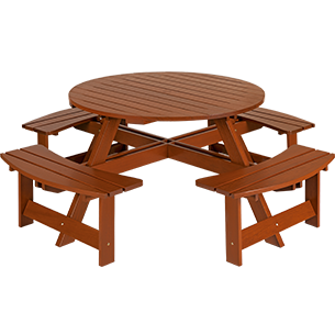 Picnic Table without Back with Jatobá Wood and Eco Blindage - Garden